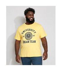 """camiseta masculina plus size university"""" manga curta gola careca amarela"""""""