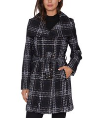 laundry by shelli segal plaid belted wrap coat