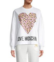 love moschino women's heart logo graphic sweatshirt - optical white - size 40 (6)