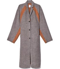 colorblock raglan coat in camel double faced check