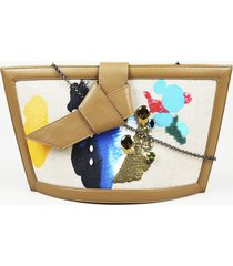 bea valdes 2018 gaia hand painted canvas clutch bag