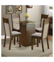 conjunto sala de jantar madesa miami mesa tampo de vidro com 4 cadeiras rustic/crema/pérola