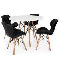 kit mesa jantar eiffel 120cm branca + 04 cadeiras slim - preta