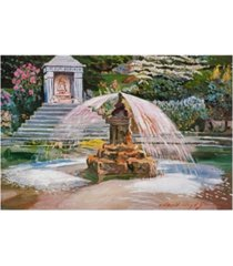 "david lloyd glover spring fountain and pond canvas art - 15"" x 20"""