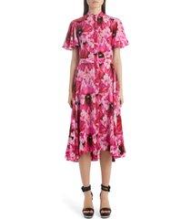 women's alexander mcqueen flutter sleeve floral silk midi dress, size 6 us - pink