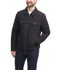levi's men's diamond quilted cotton trucker jacket