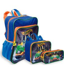 kit hot wheels 19m plus infantil sestini - mochila + lancheira + estojo