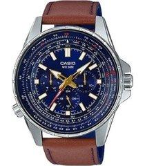 reloj analógico hombre casio mtp-sw320l2a cronógrafo - marrón con azul