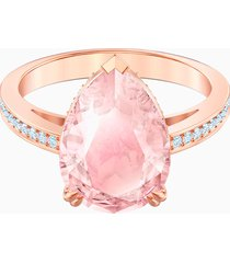 anello cocktail vintage, rosa, placcato oro rosa