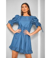 chambray shirred frill detail shift dress, mid blue