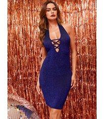 vestido sin mangas cruzado sin espalda con diseño cruzado azul brillante de yoins