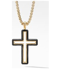 men's david yurman forged carbon cross pendant with 18k gold