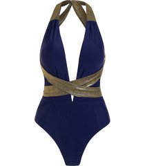 sparkly wraparound plunge one-piece swimsuit