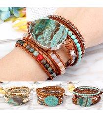 braccialetto di cuoio dell'involucro di fascino del braccialetto dell'argento di jasper della pietra dell'oceano etnico per il braccialetto di stile retro delle donne