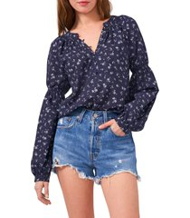 1.state half placket floral print top, size xx-small in twilight navy at nordstrom