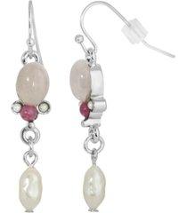 2028 silver-tone semi precious rose quartz and imitation pearl drop earrings