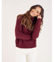 suéter tejido para mujer rojo manga larga con detalles calados