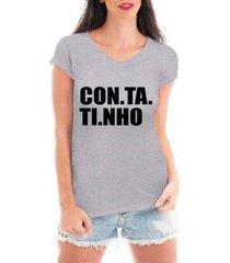 camiseta criativa urbana contatinho feminina - feminino