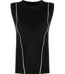 diesel cotton top with zip openings - preto
