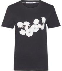 camiseta slim con logo floral negro calvin klein