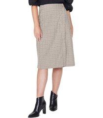 women's nydj plaid faux wrap skirt, size 00 - white