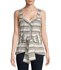 tie-front sleeveless cotton top
