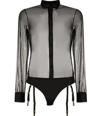 maison close madame rêve shirt bodysuit - black