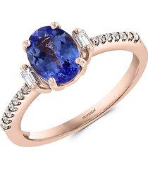 effy women's 14k rose gold, diamond & tanzanite solitaire ring - size 7