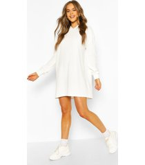 quilted hooded sweat dress, ecru