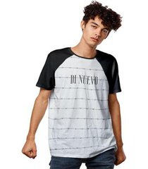 camiseta cerca arame farpado raglan di nuevo masculina - masculino