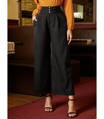 yoins bolsillos laterales negros pantalones anchos de cintura alta