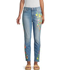 high-rise embroidered floral skinny ankle jeans