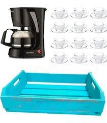 kit 1 cafeteira mondial 110v, 12 xícaras 90 ml com pires e 1 bandeja em mdf azul - tricae