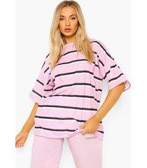 oversized gestreept t-shirt, pink