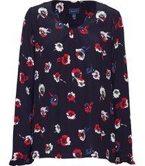 d1. printed office blouse blouse lange mouwen blauw gant