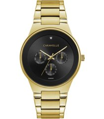 caravelle designed by bulova designed by bulova men's diamond-accent gold-tone stainless steel bracelet watch 40mm
