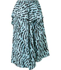 christian wijnants saggie animal-print draped skirt - blue