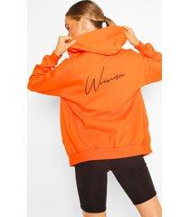 oversized hoodiemet print en ritssluiting voor dames, oranje