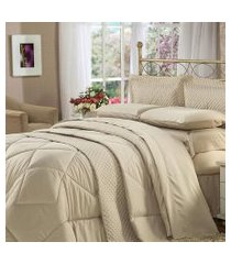 jogo de cama quenn 4 peças marrom soft touch plumasul