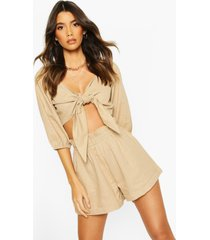 linen off shoulder tie front top, stone