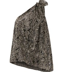 brunello cucinelli one-shoulder leaf embroidered silk blouse with