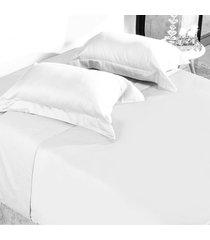 jogo de cama 300 fios casal 100% algodã£o penteado toque acetinado fronha com abas  branco - tessi - branco - dafiti