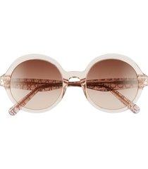 salvatore ferragam gancini 52mm round sunglasses - crystal rose/ brown rose