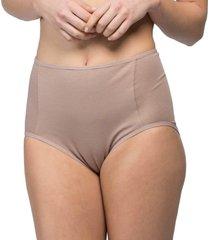 calcinha alta frente dupla algodão egípcio nozes - 578.024 marcyn lingerie alta bege