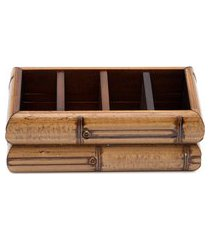 porta talher de madeira bamboo - marrom