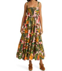 farm rio pink cocoa forest tiered maxi dress, size large at nordstrom