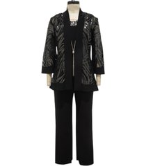 r & m richards 3-pc. metallic jacket, necklace top & pants set