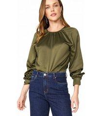 amaro feminino blusa acetinada manga longa franzido, militar