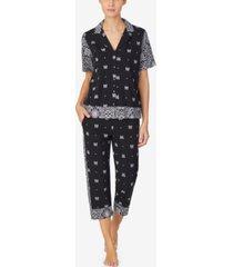 dkny women's short sleeve top & capri pajama set