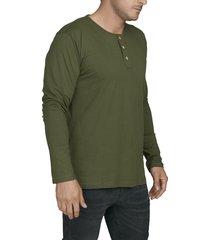 camiseta militar luck & load cuello tres botones manga larga